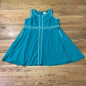 Modcloth Plus Green A-Line Dress White Trim sz4X